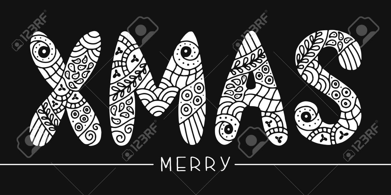 Feliz Navidad Tarjeta De Felicitación De Navidad Para Colorear Letras Tipografía Caligrafía Dibujado A Mano Elementos De Diseño