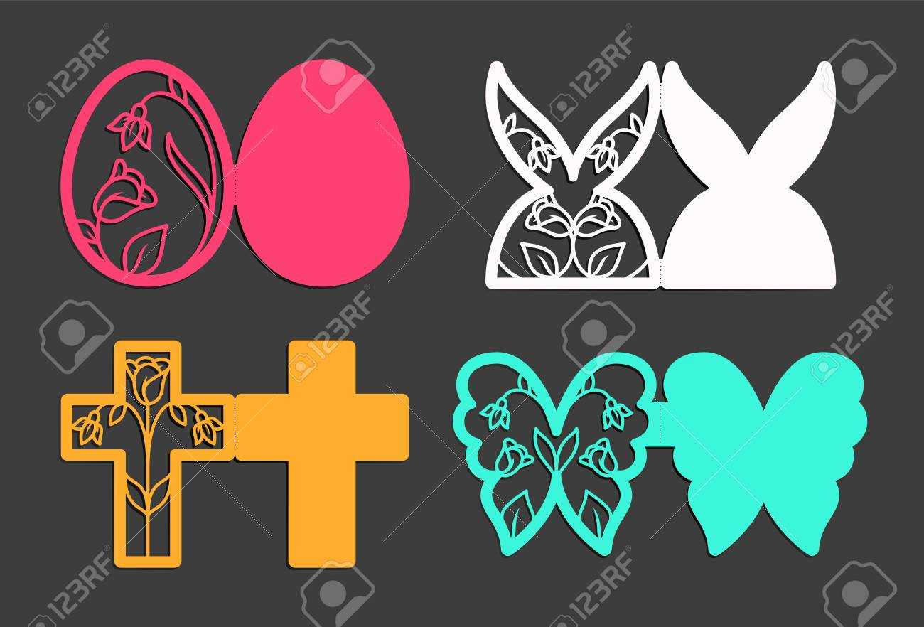 laser cut template for easter greeting fold out cards invitations