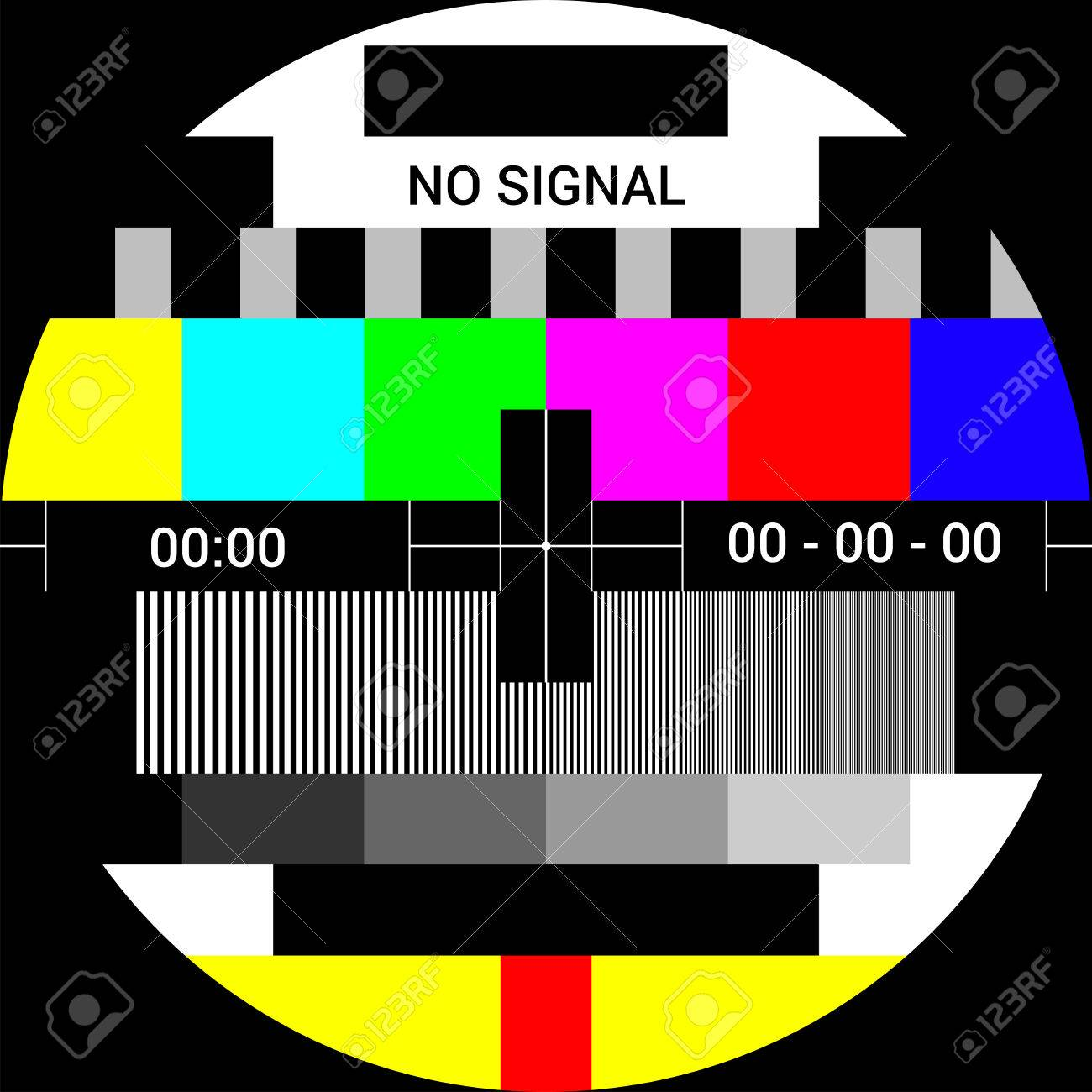 TV test card with rainbow multi color bars, geometric signals