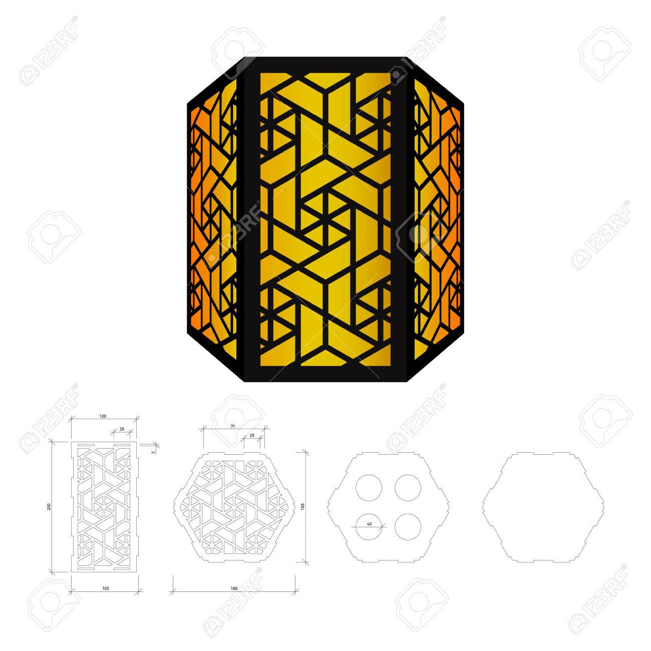 cut out template for lamp candle holder lantern or chandelier