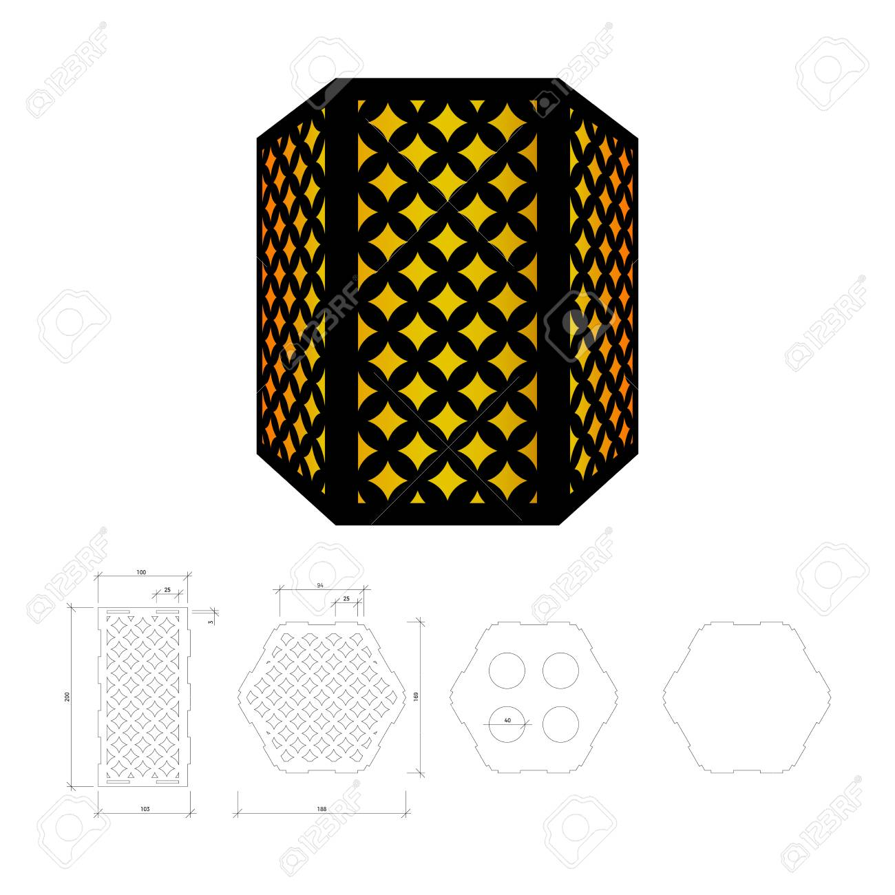 Cut out template for lamp, candle holder, lantern or chandelier