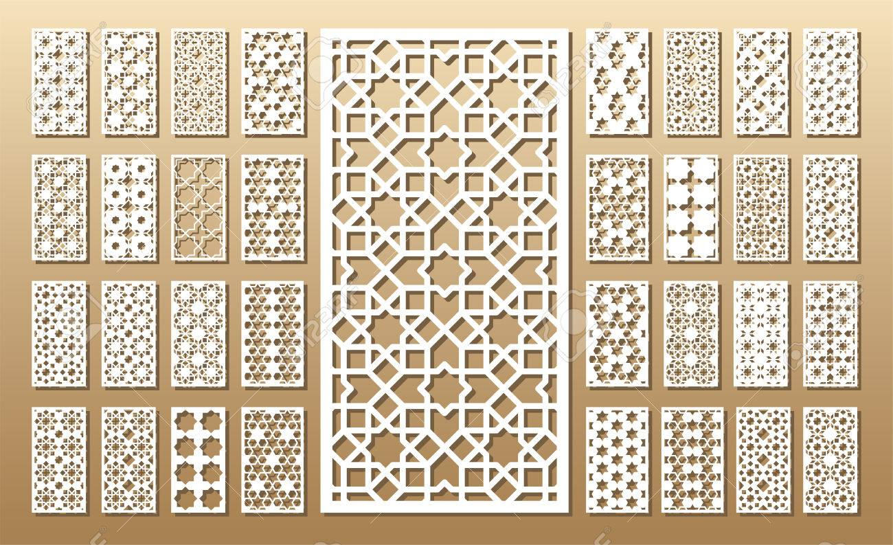 Die cut card. Laser cut 33 vector panels. Cutout silhouette with geometric pattern. A picture suitable for printing, engraving, laser cutting paper, wood, metal, stencil manufacturing. - 80499137