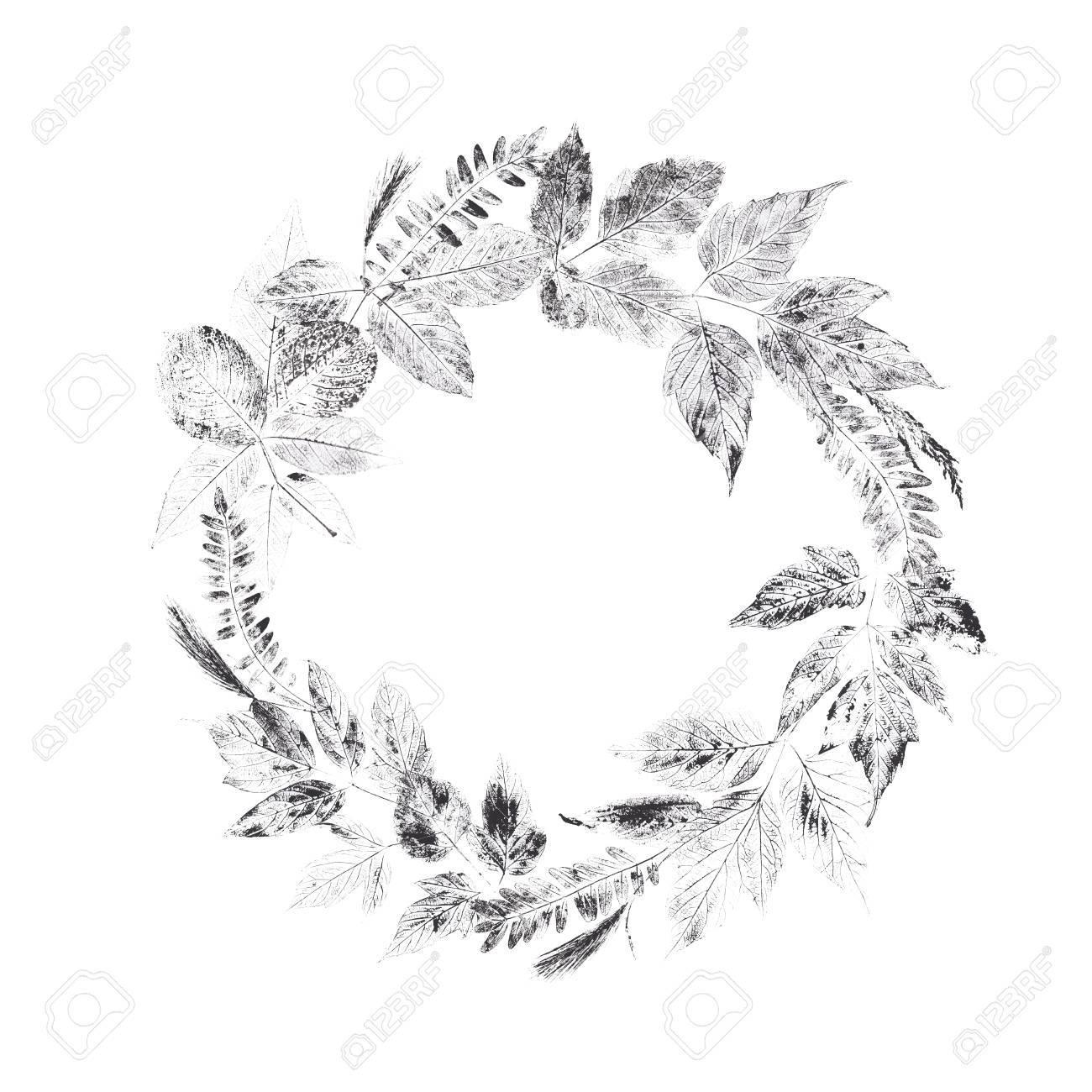 Original nature print  Unique hand made leaf stamp  Composition