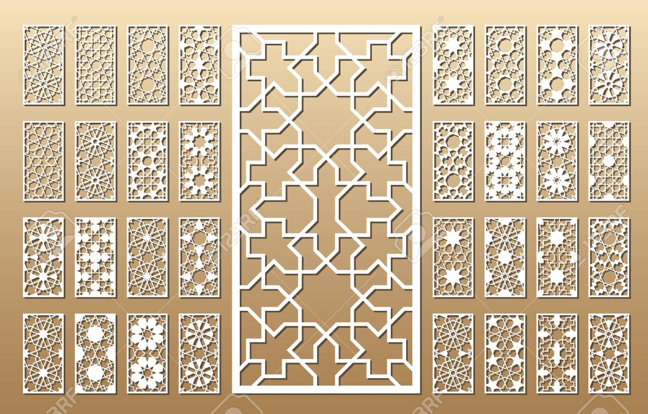 33 vector panels. Cutout silhouette with arabic (girih geometric) pattern. A picture suitable for printing invitations, laser cutting (engraving) stencil, wood and metal decorations. - 128956887