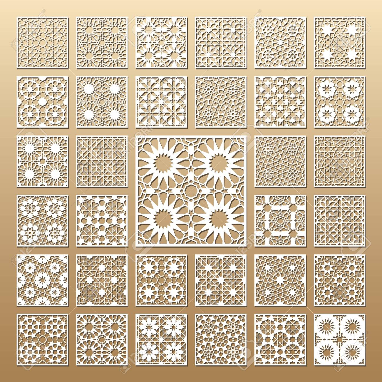 33 vector panels. Cutout silhouette with arabic (girih geometric) pattern. A picture suitable for printing invitations, laser cutting (engraving) stencil, wood and metal decorations. - 128957294