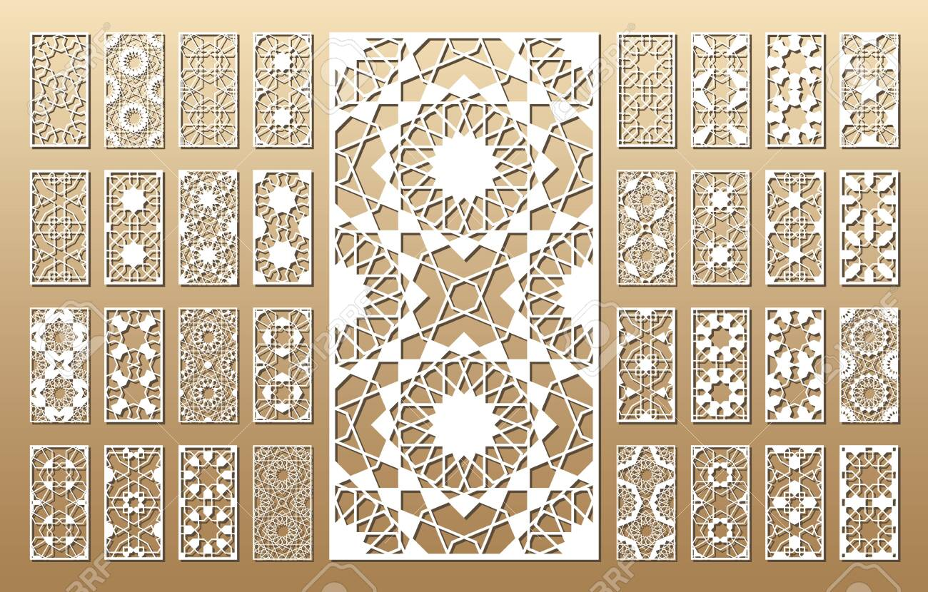 33 vector panels. Cutout silhouette with arabic (girih geometric) pattern. A picture suitable for printing invitations, laser cutting (engraving) stencil, wood and metal decorations. - 128957652