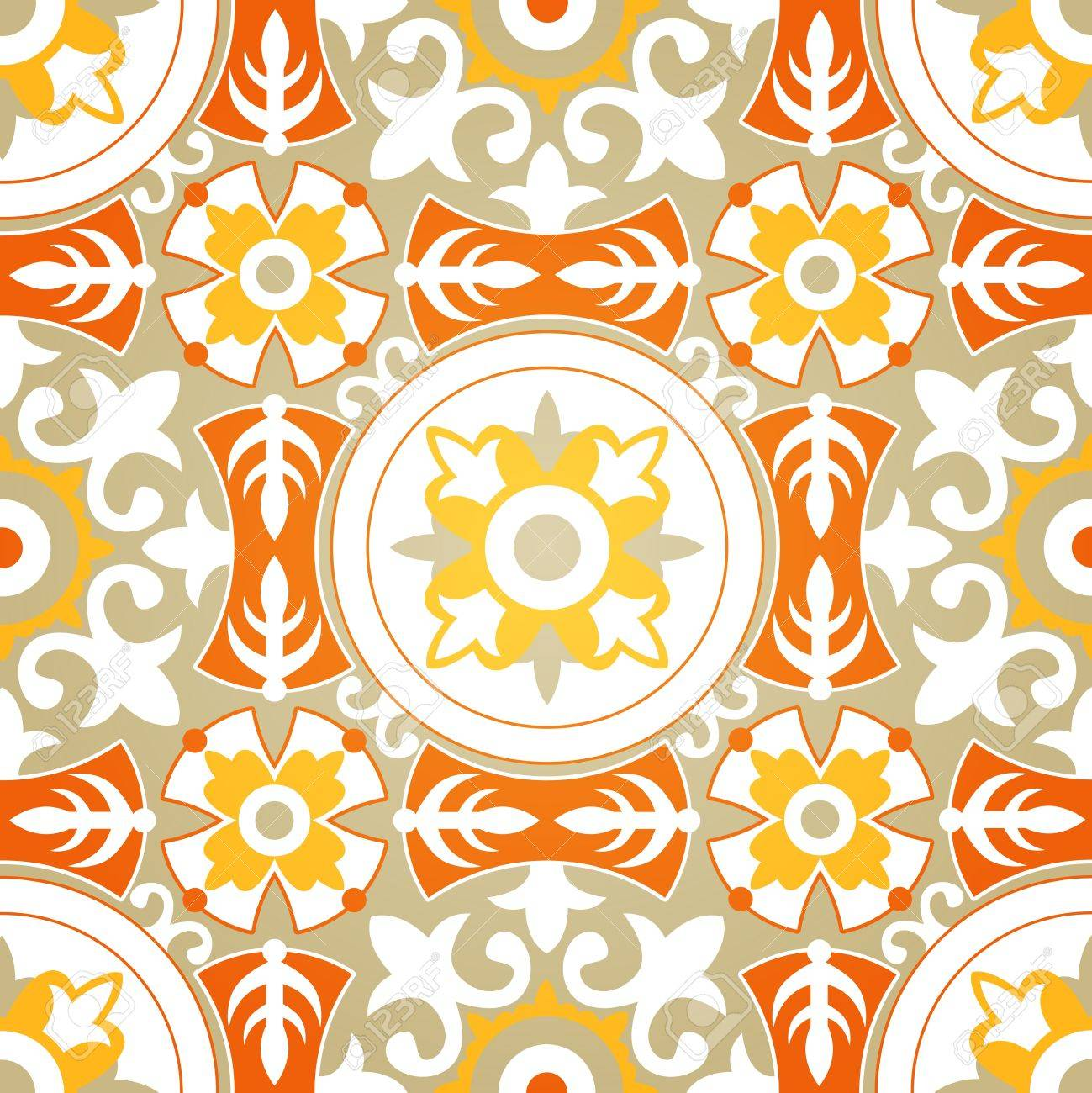Vector Background of Soft Floral Geometric Seamless Pattern Stock Vector - 16213828
