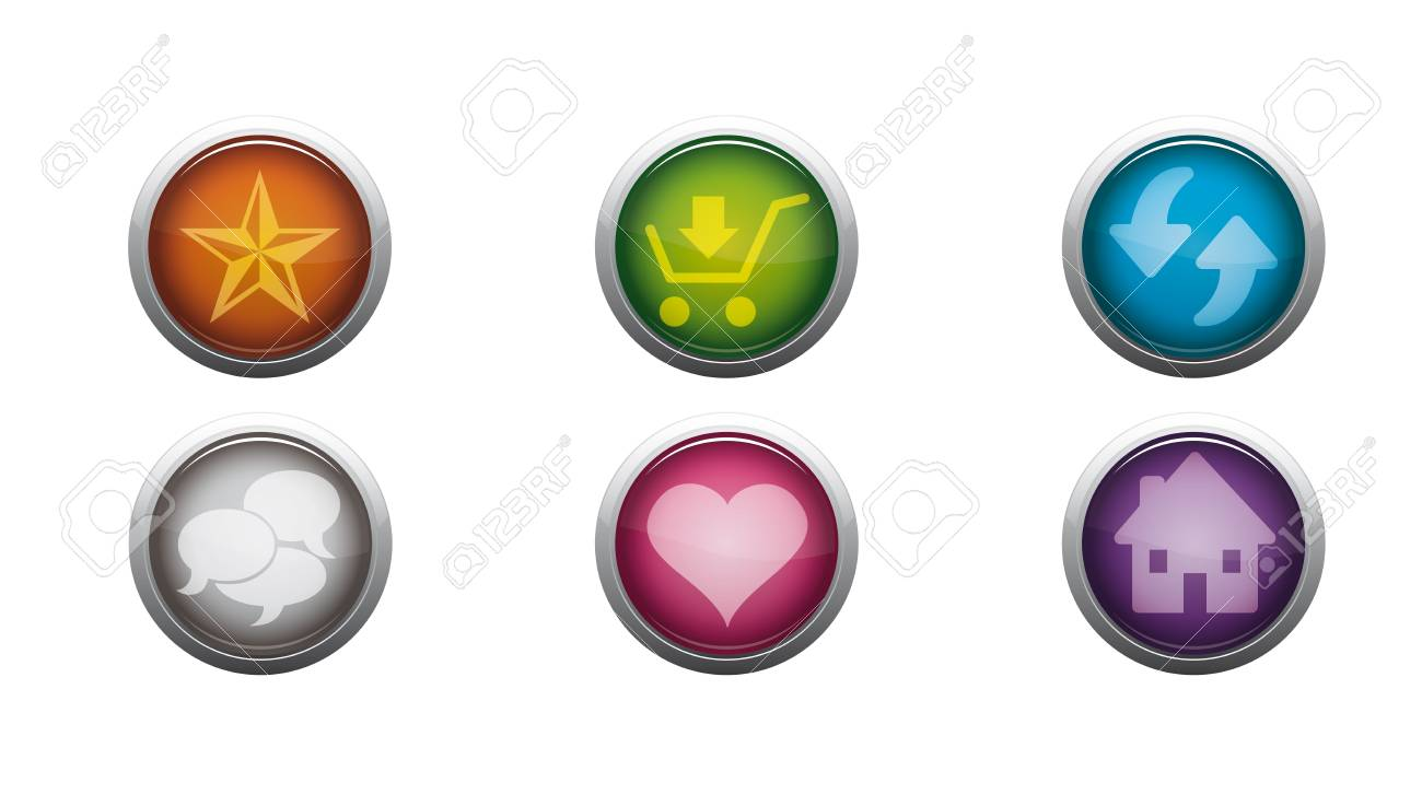 Abstract Vector Glossy Web Buttons of Internet Toolbar Stock Vector - 17084447