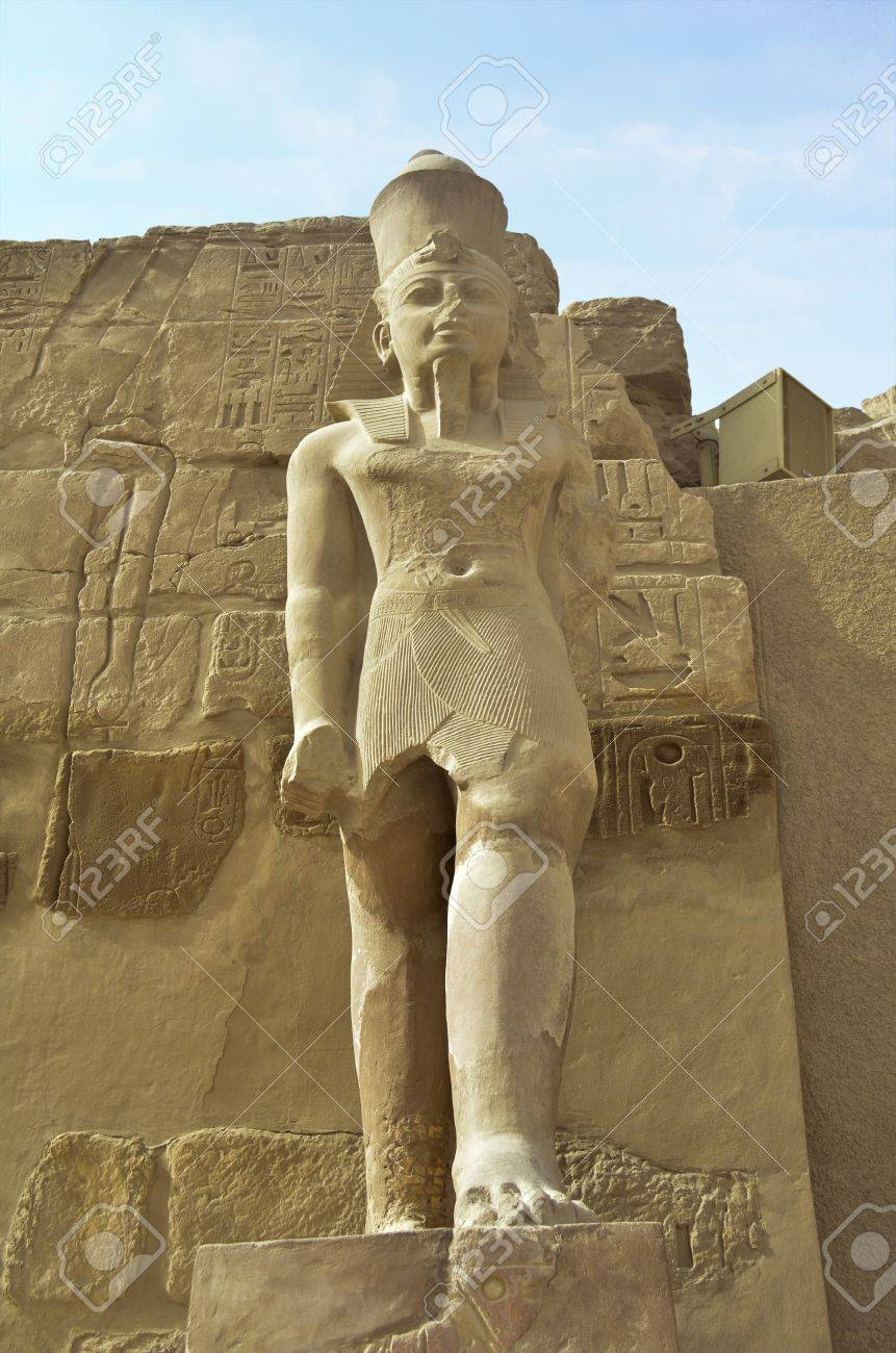 Statue of Pharaoh in the Peristyle Court of the Temple Amon-Ra