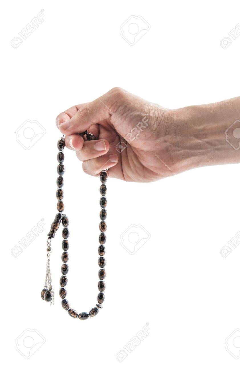 Male Hand with Rosary Isolated on White Background Stock Photo - 18369897