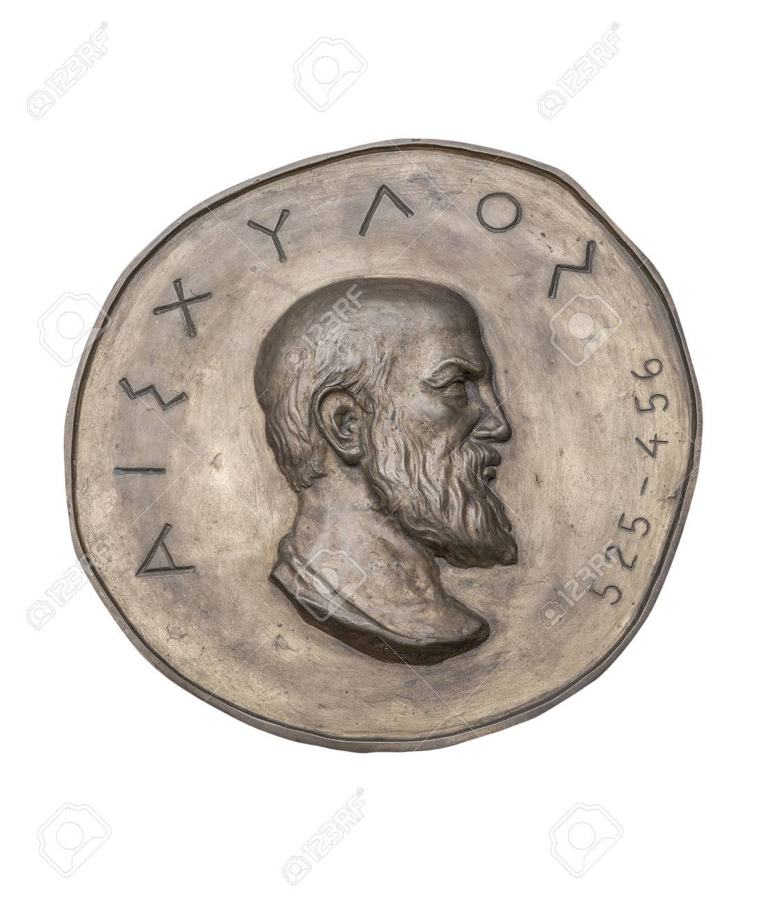 古代の銅メダルにギリシャの作家...