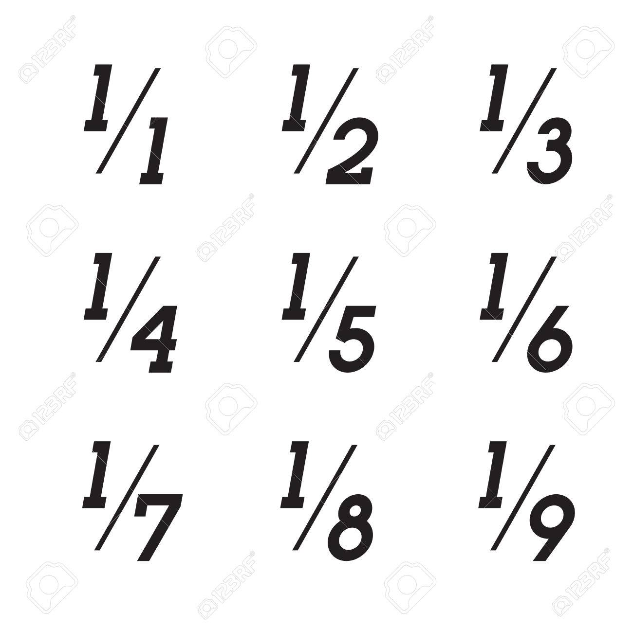 Vector Math Fractions Icons on White Background - 60164909
