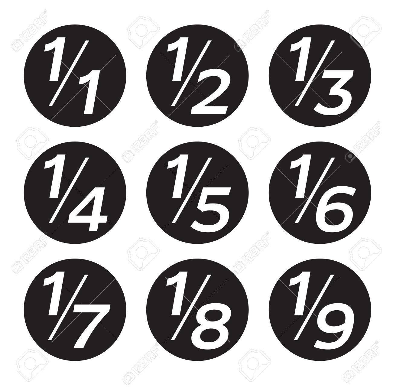 Vector Math Fractions Icons on White Background - 60164910