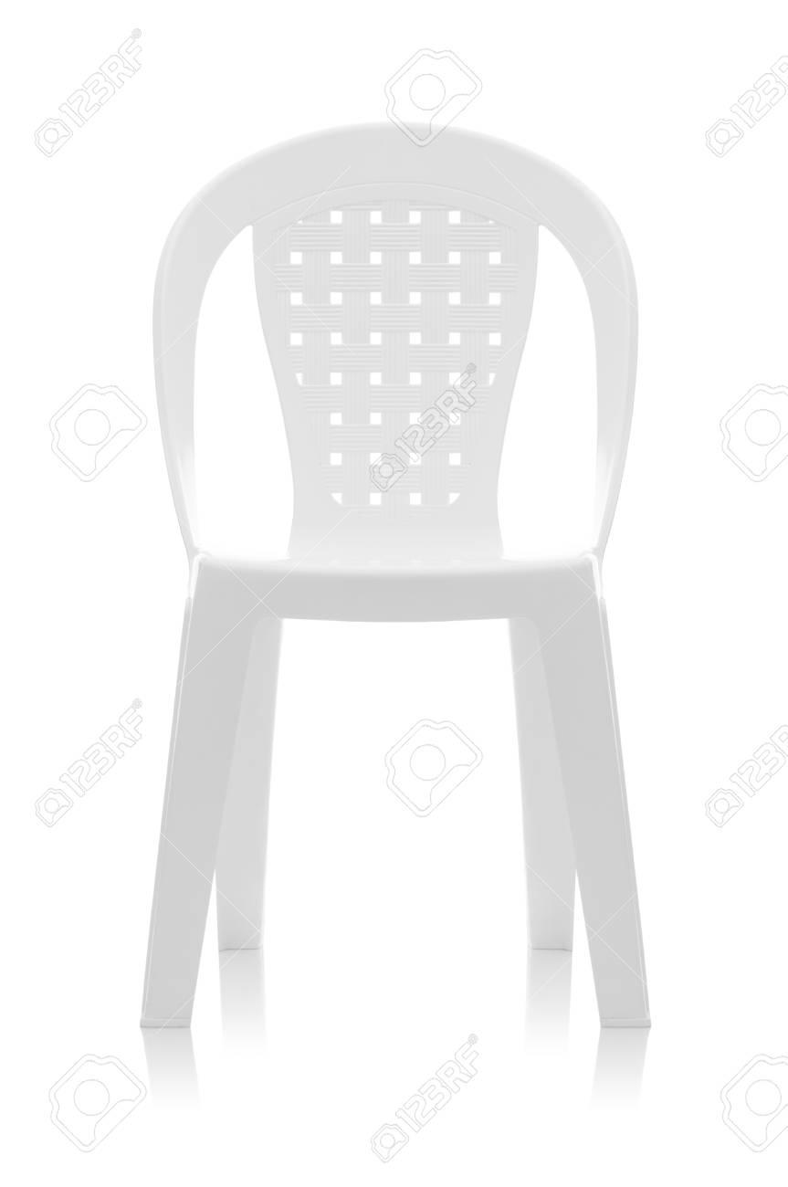 Una Sedia Di Plastica Bianca Isolata Su Fondo Bianco Foto Royalty