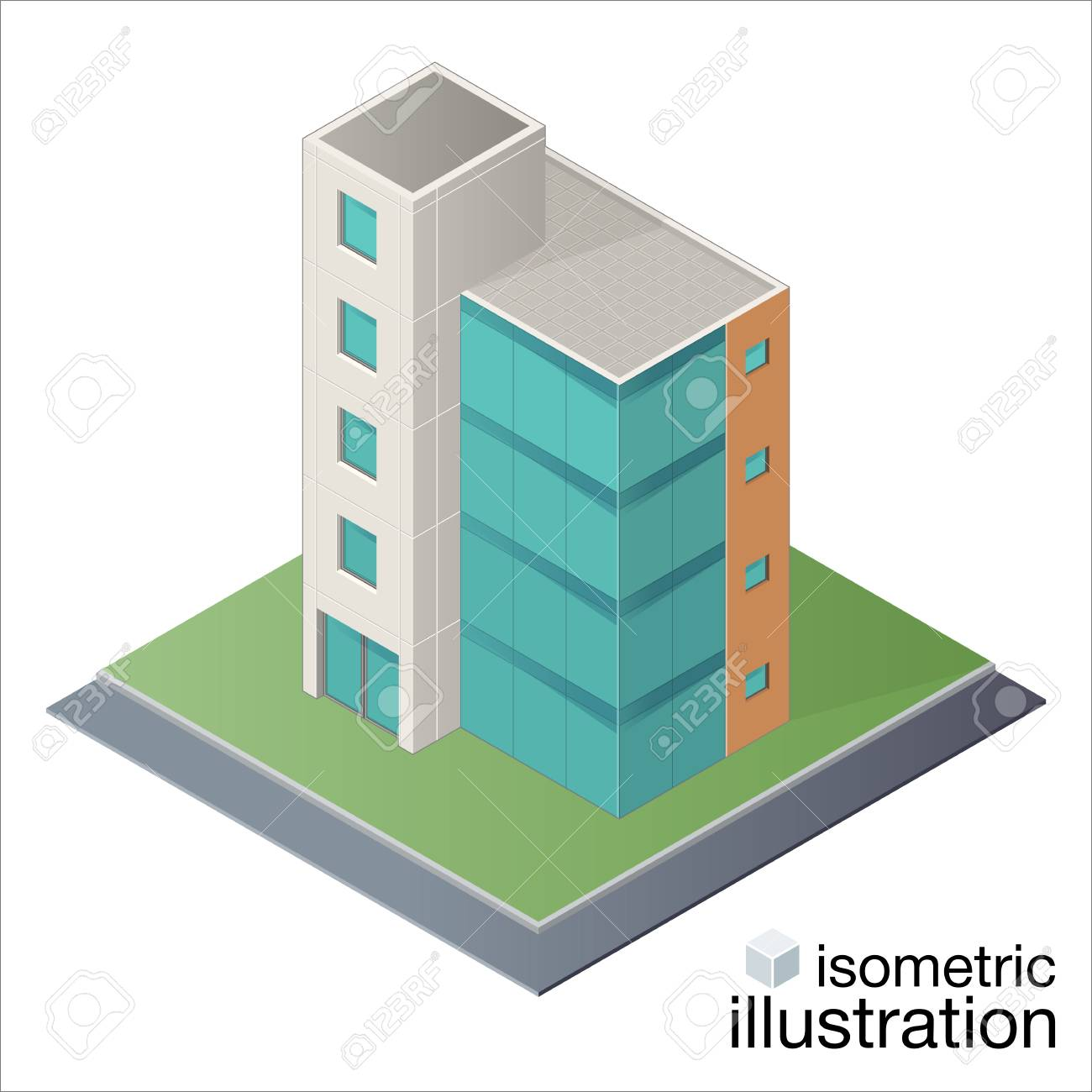 Modern Office Building, Business Center In The Isometric Projection. Vector  Illustration On A White