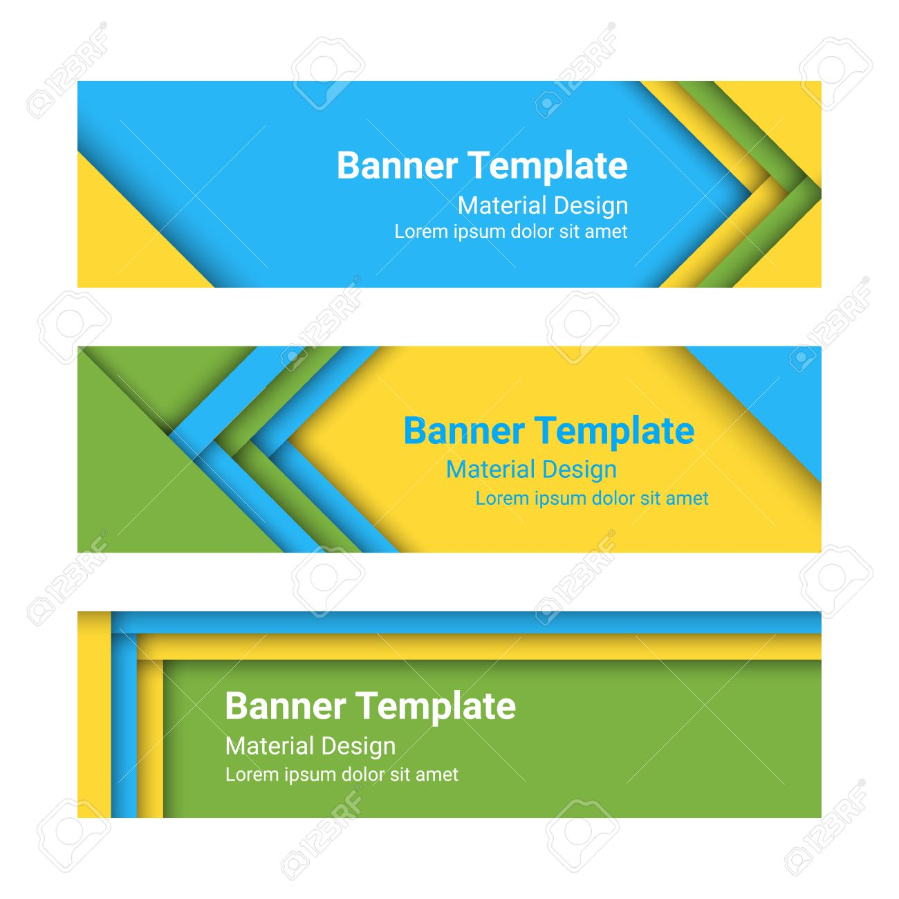 Design vector banner - Set Of Modern Horizontal Vector Banners In A Material Design Style Stock Vector 50584523