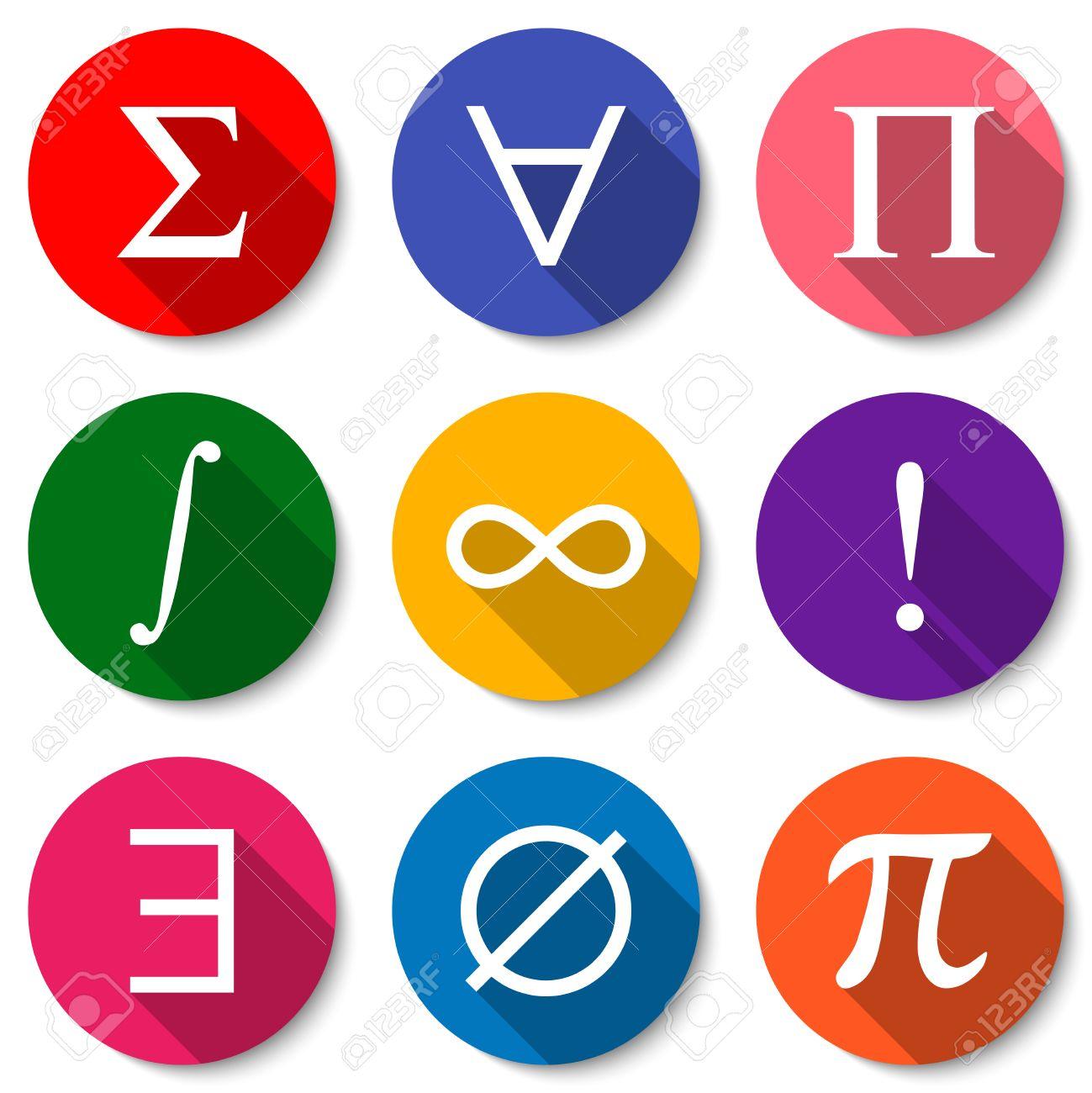 Mathematical symbols set of colorful flat math icons with long mathematical symbols set of colorful flat math icons with long shadows summation universal biocorpaavc Image collections