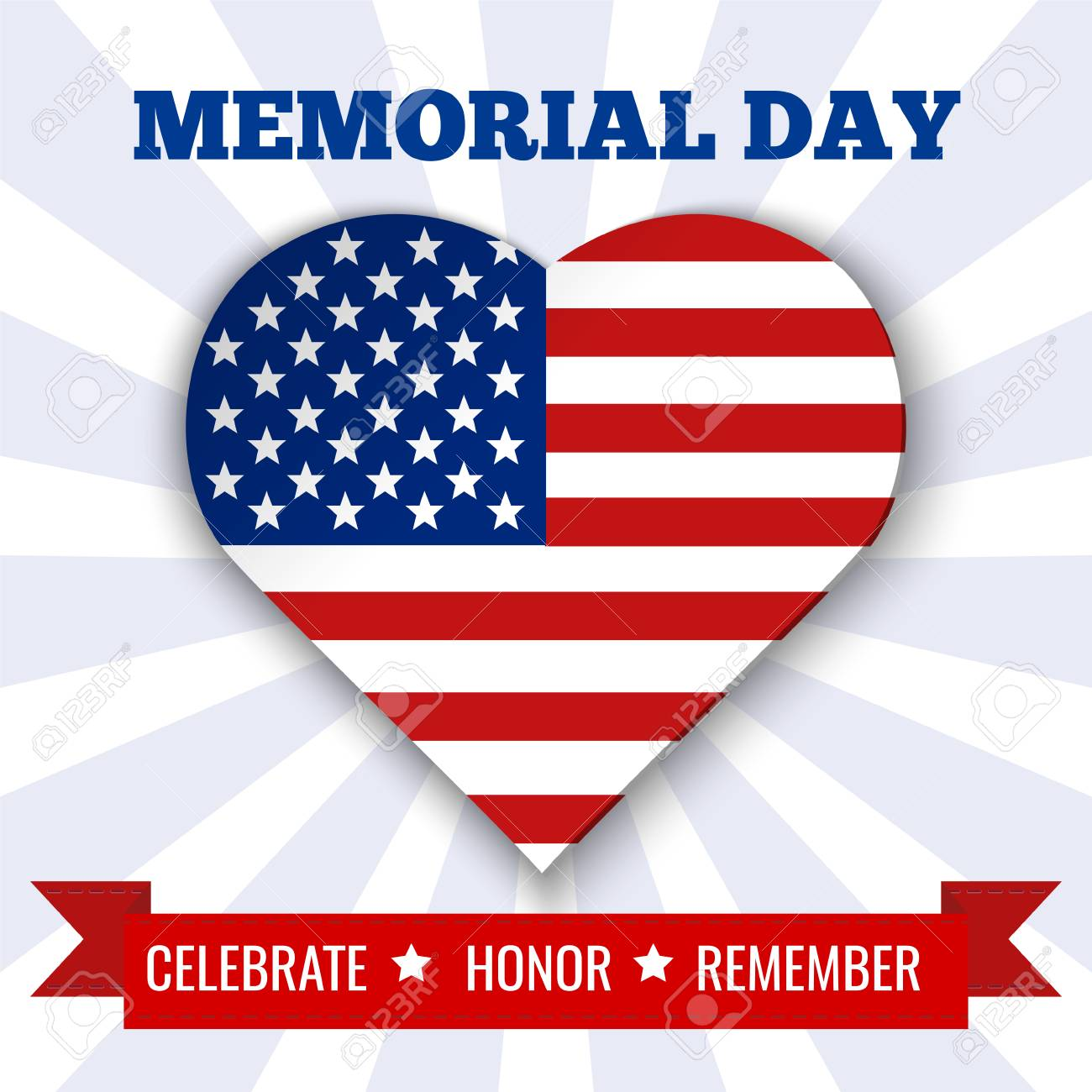 Memorial Day Background Illustration With Heart, Text And Ribbon ...