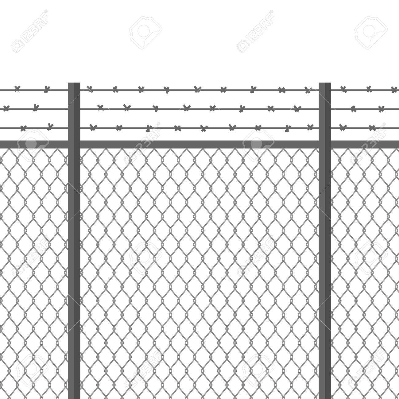 Metal Fence With Barbed Wire. Fortification, Secured Property ...