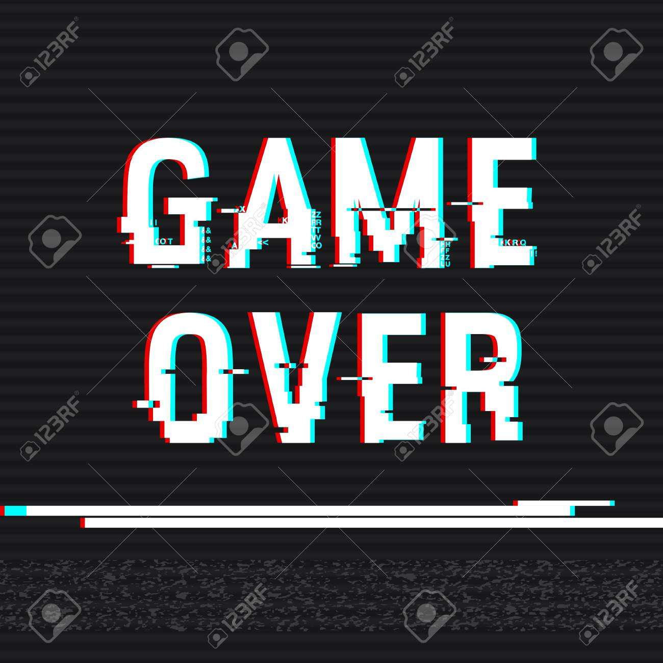 game over glitch text anaglyph 3d effect technological retro
