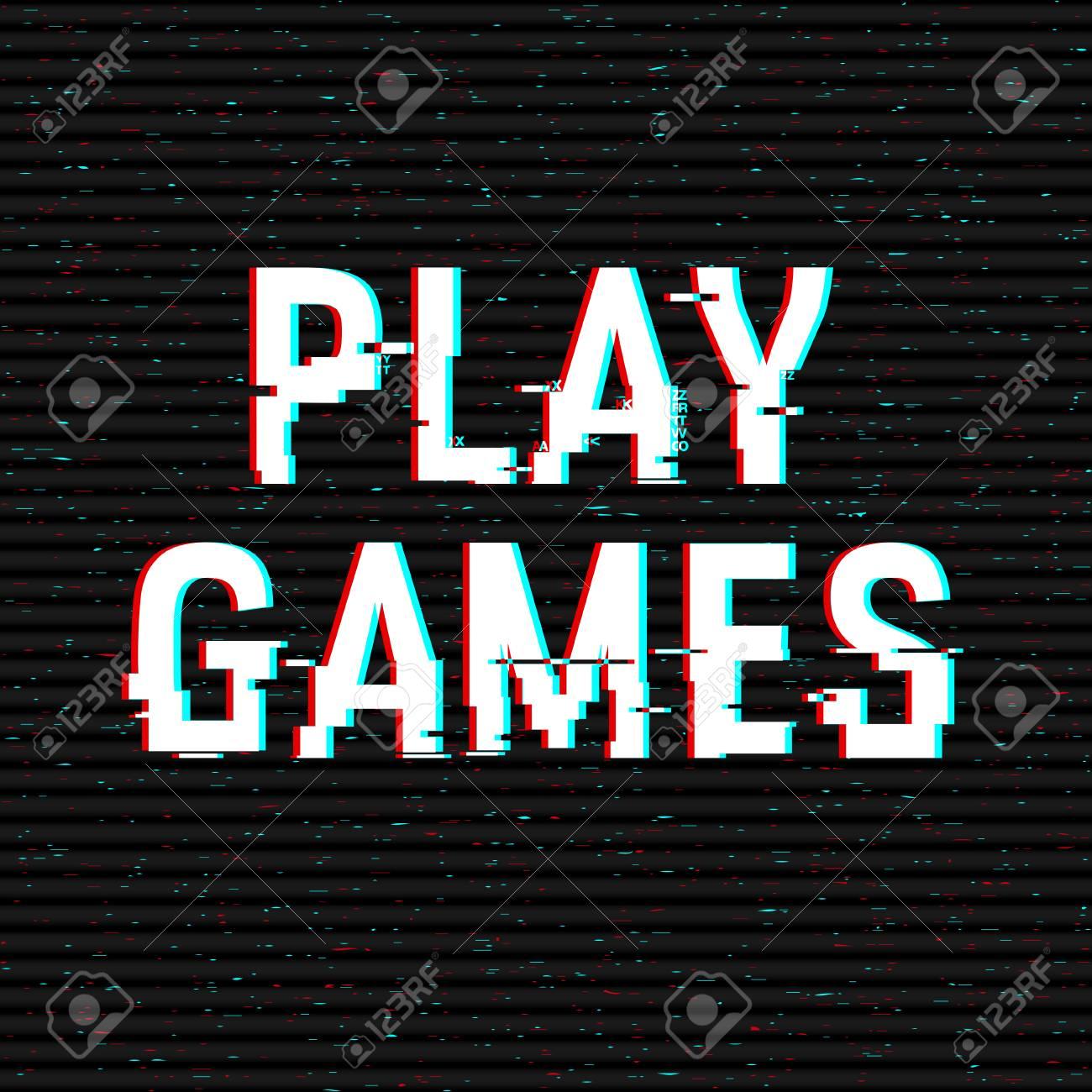 Juega Juegos Glitch Texto. Efecto Anaglifo 3D. Fondo Retro ...