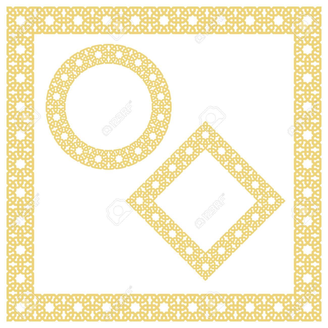 Islamic Geometric Borders, Frames, Vignettes. Vector Muslim ...