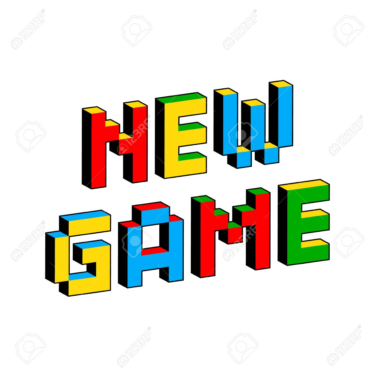 New Game text in style of old 8-bit video games  Vibrant colorful
