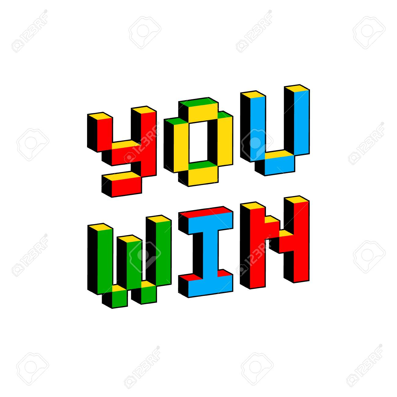 You win text in style of old 8-bit video games  Vibrant colorful