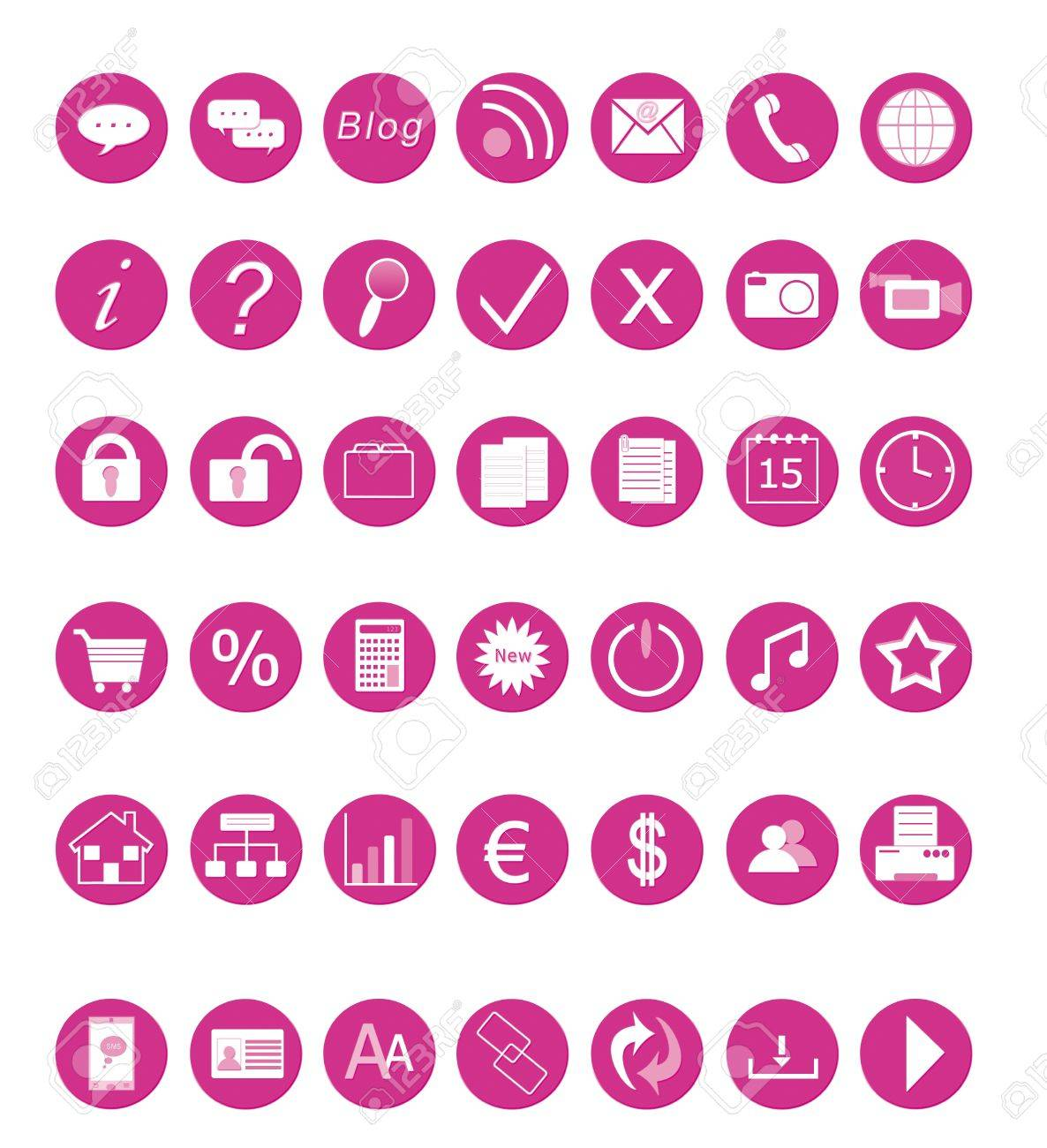 Set of icons for the Web in pink colors Stock Photo - 12332172