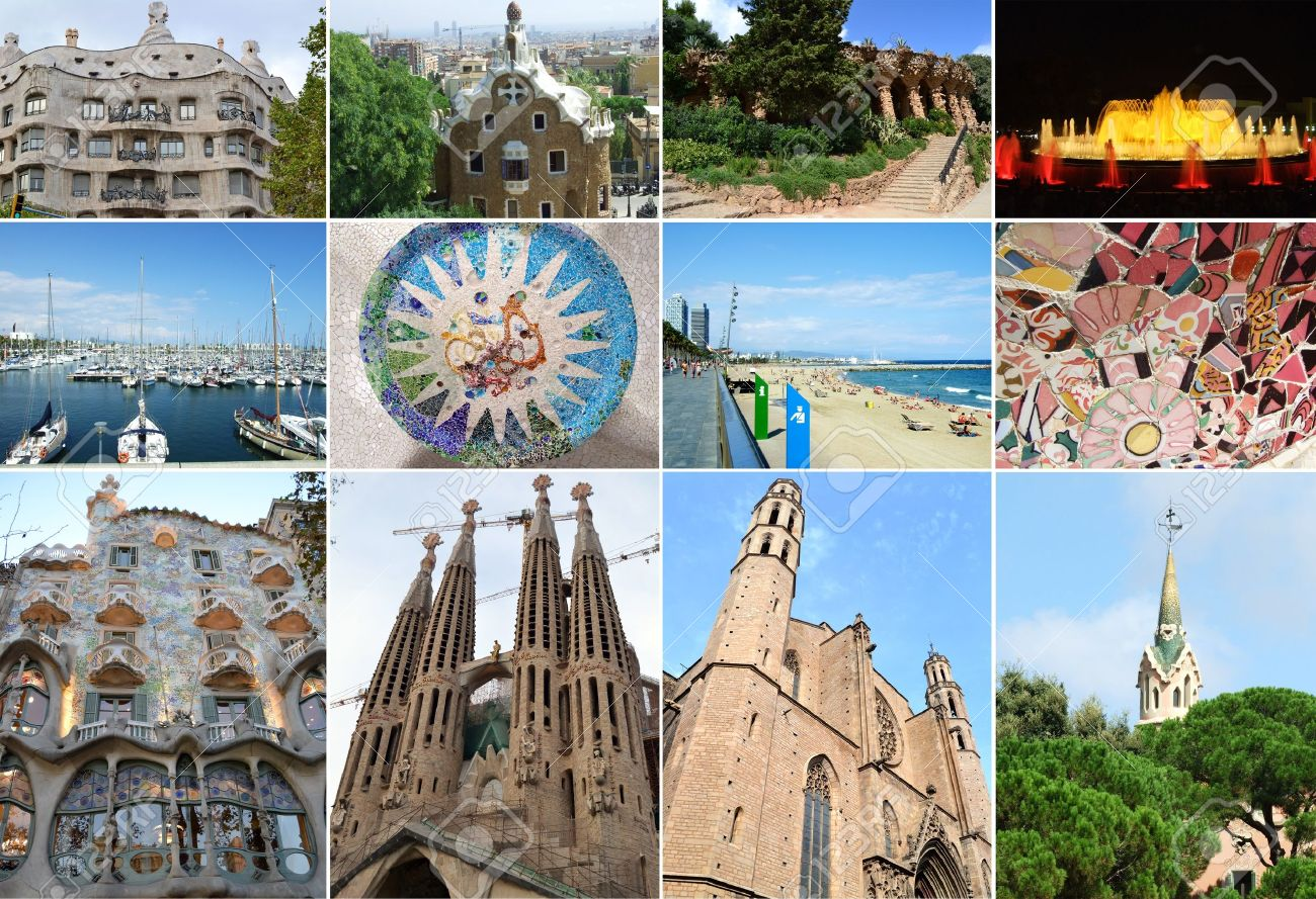 Collage of city of Barcelona in Spain Stock Photo - 12332173