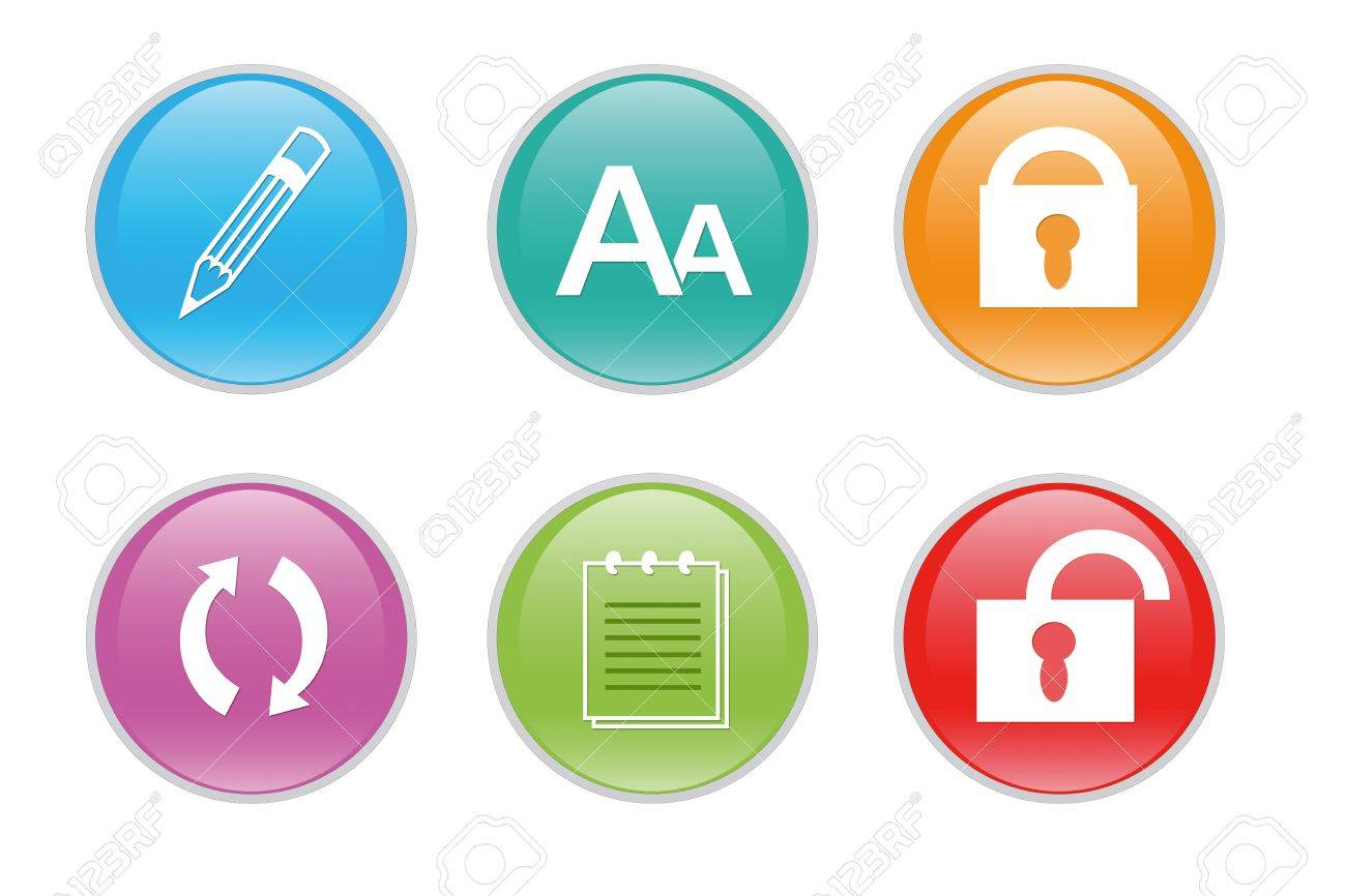 Colorful icons for the web with differents symbols Stock Photo - 13171843