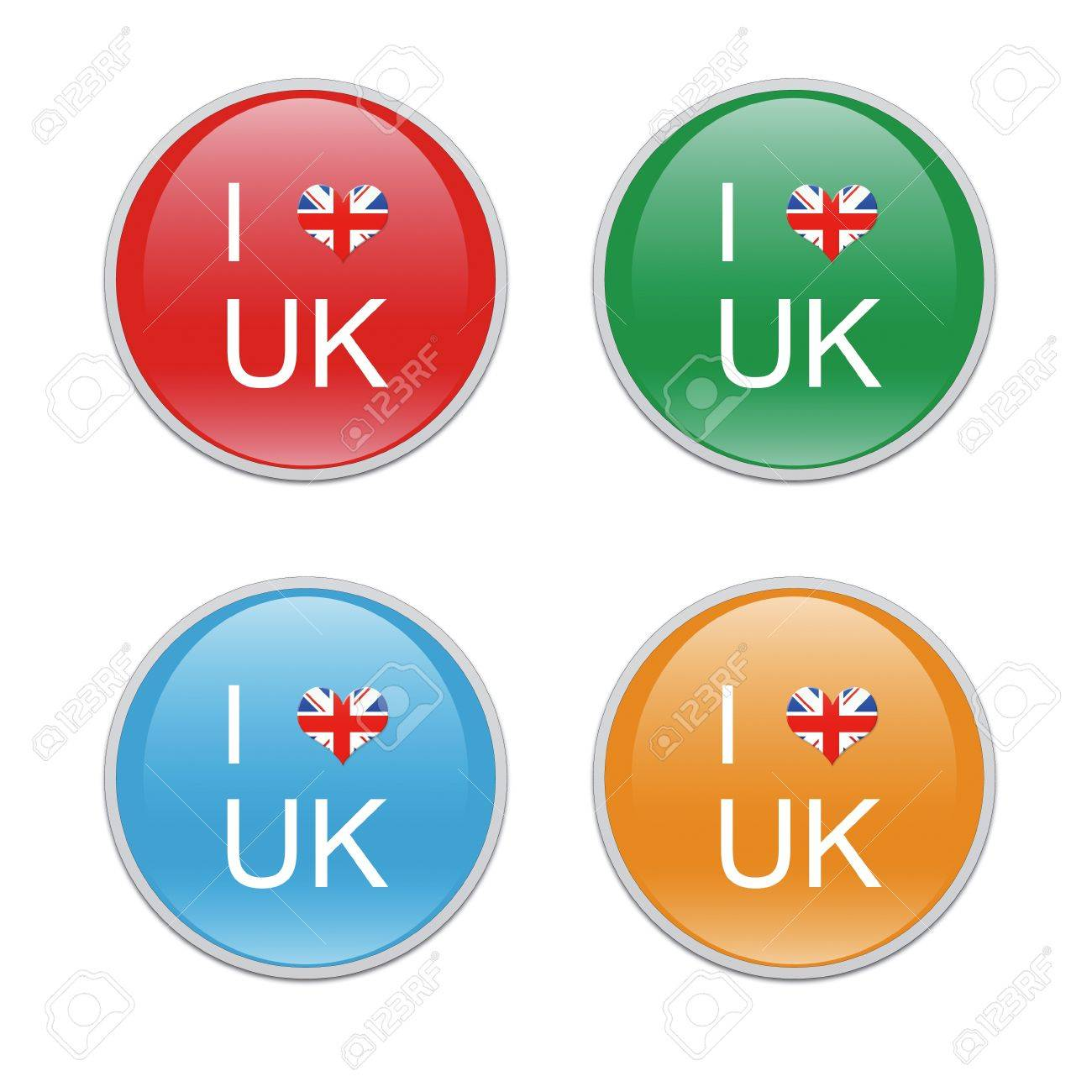 Icons to symbolize I Love UK in red, green, blue and orange colors Stock Photo - 22004876