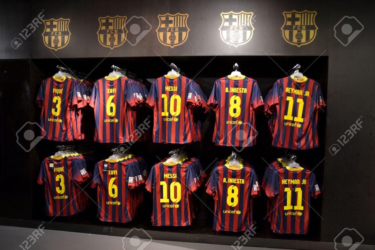 9f330f7cb BARCELONA, SPAIN - OCTOBER 26 FC Barcelona shirts in FC Barcelona Shop,  Spain on