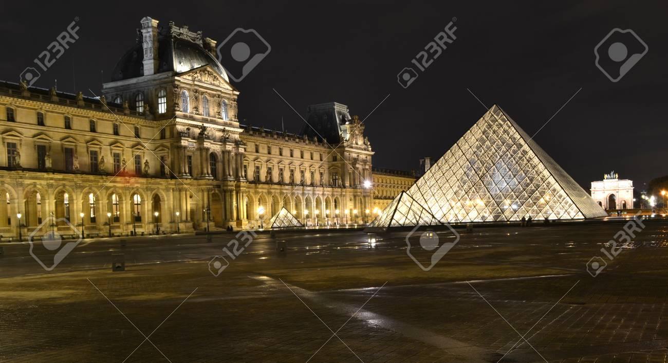 paris france october 20 louvre pyramid at night in paris