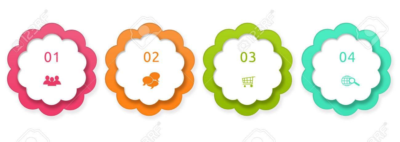Coloridos Botones Redondeados Para Menú De Páginas Web, Marketing O ...