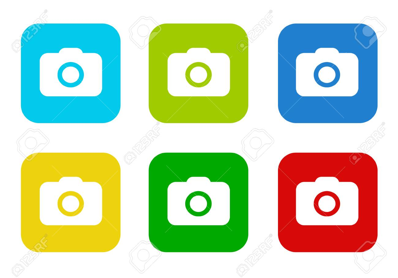 Set Of Rounded Square Colorful Flat Icons With Camera Symbol.. Stock ...