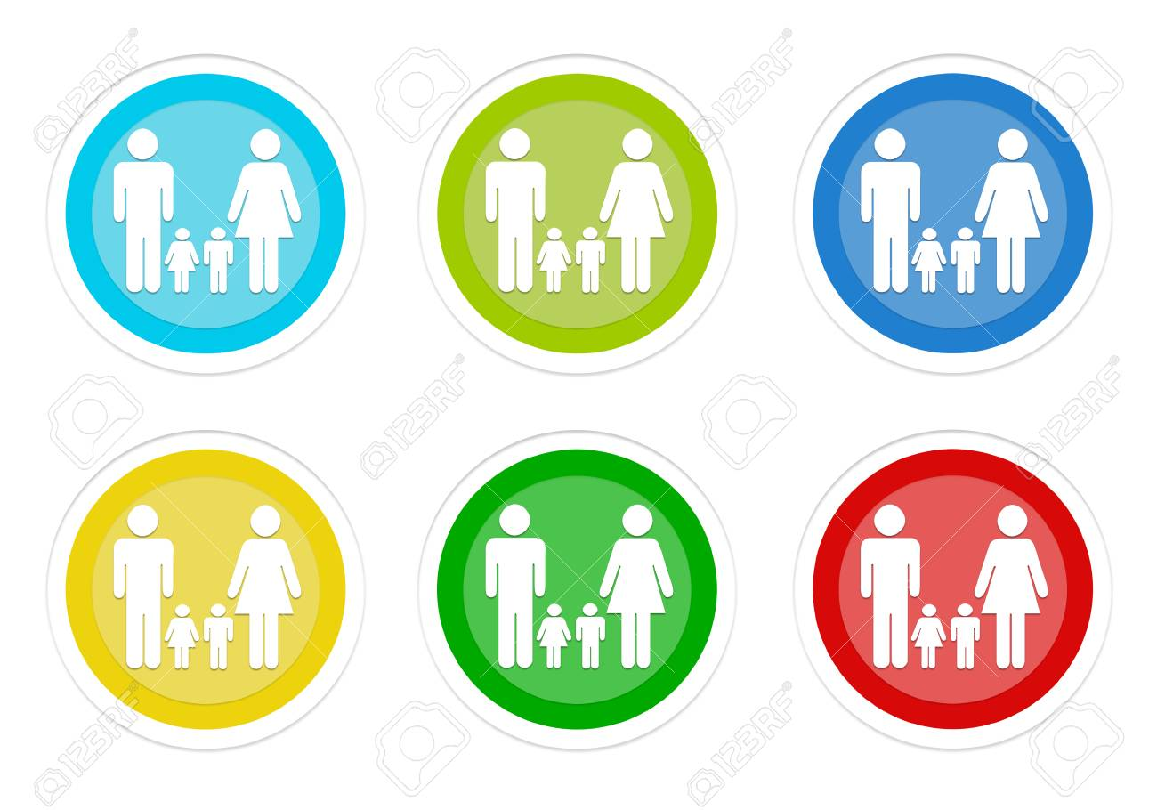 Set Of Rounded Colorful Buttons With Family Symbol In Blue, Green ...