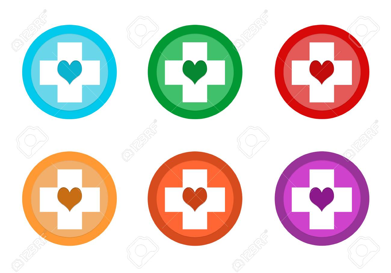 Set Of Rounded Colorful Buttons With Medical Symbol In Blue Stock
