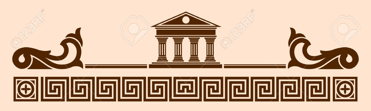 Vector Greek ornament. Temple of the Olympian gods with columns and graphic elements. - 50480892