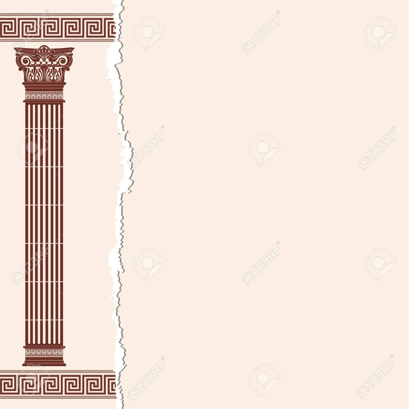 f263a4818378 Vector - Vector Greek style frame ornament with column. Brown pattern on a  beige background.