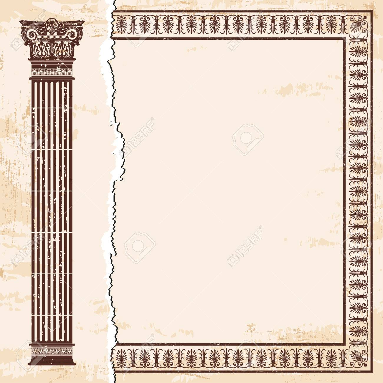 Vector greek style frame ornament with column and with the aging vector greek style frame ornament with column and with the aging effect brown pattern on jeuxipadfo Gallery