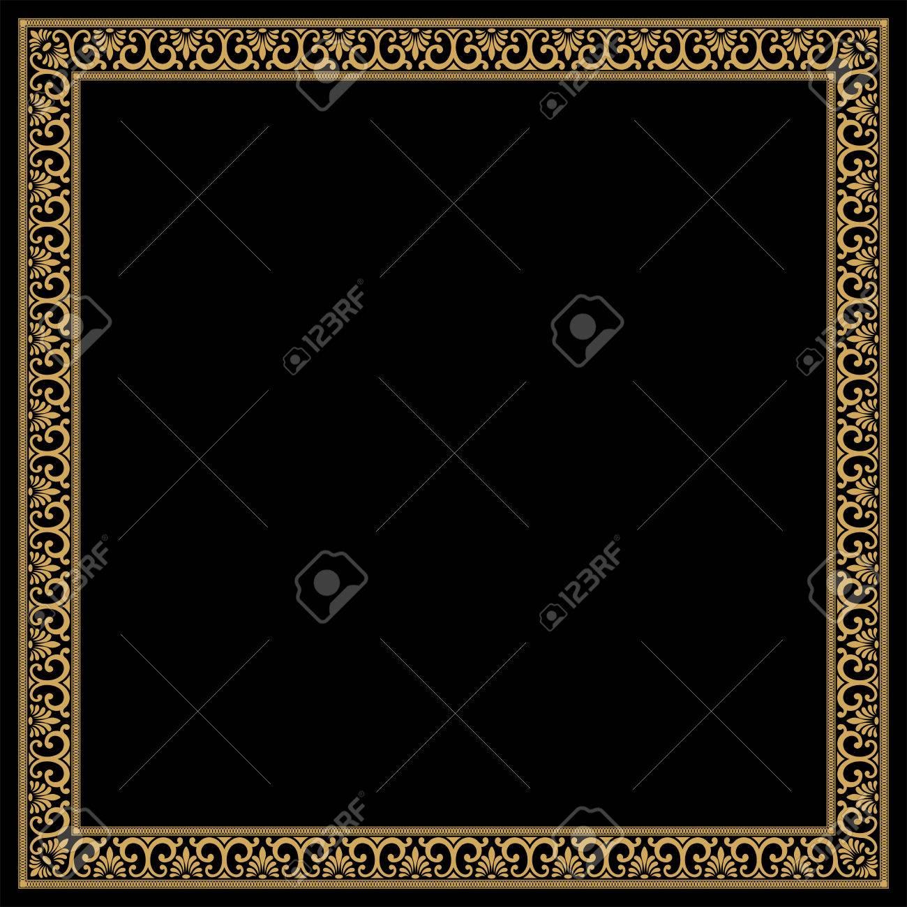 Greek style frame with vintage ornament separate linear and greek style frame with vintage ornament separate linear and angular elements golden pattern on jeuxipadfo Gallery