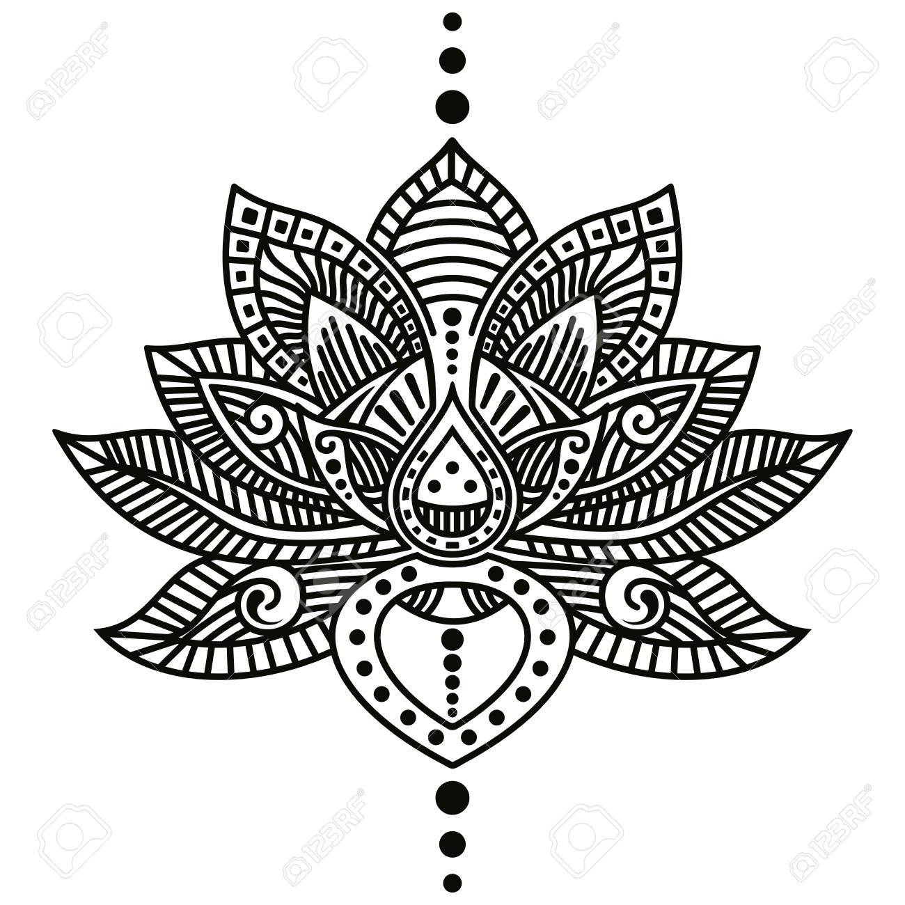 Lotus Flower Tattoo Royalty Free Cliparts Vectors And Stock