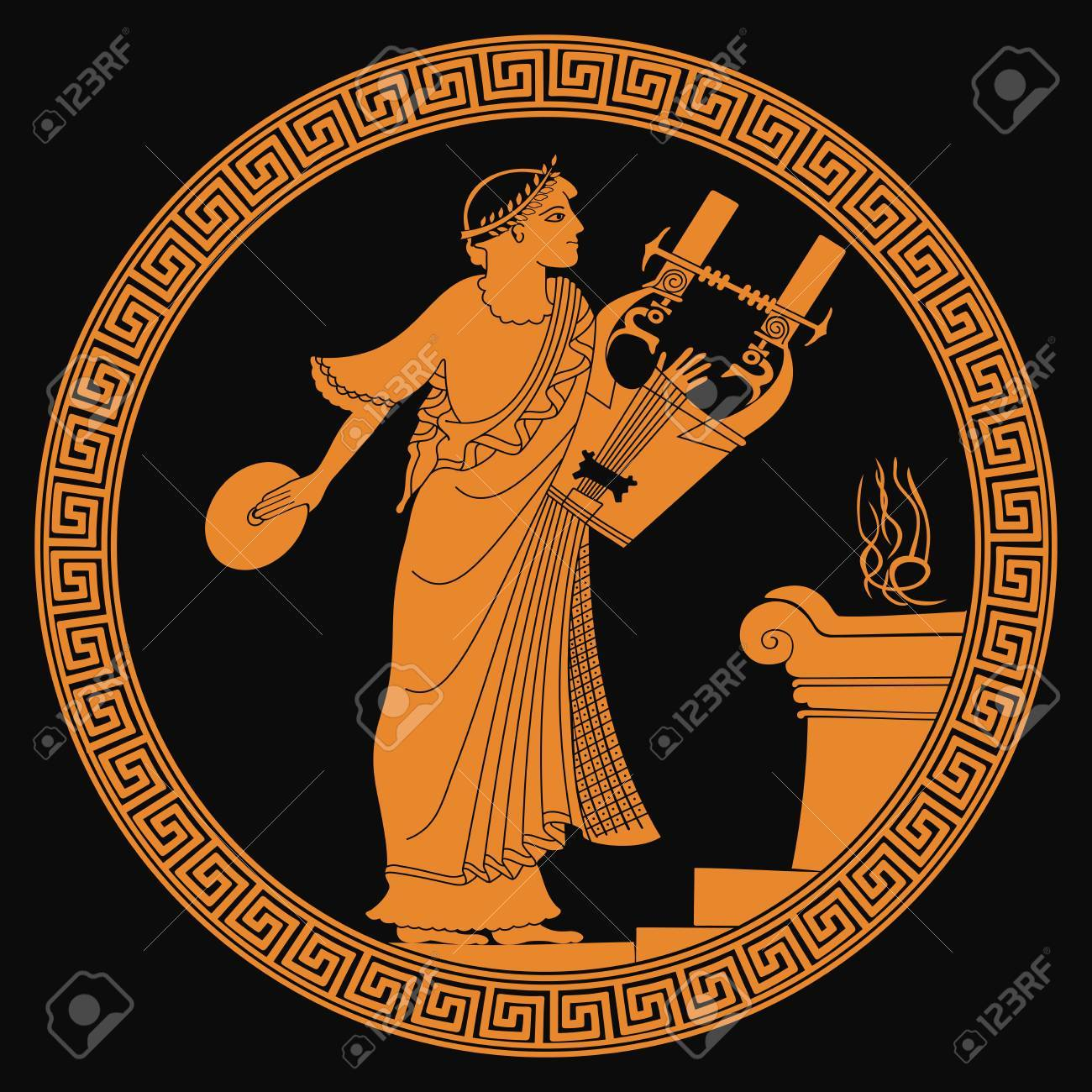 Ancient Greek god of marriage Hymen with a musical instrument