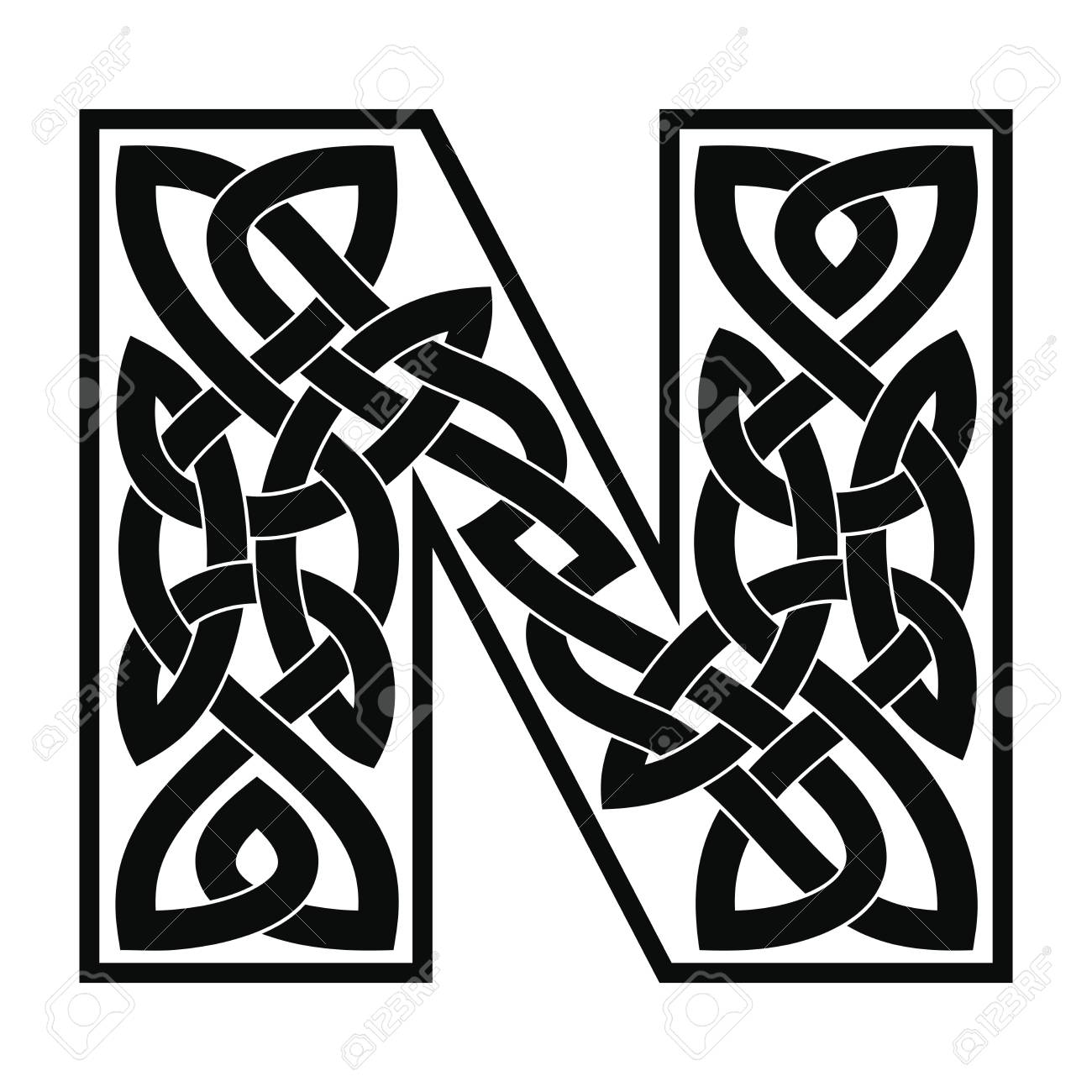 Letter N With Celtic Ornament Royalty Free Cliparts Vectors And