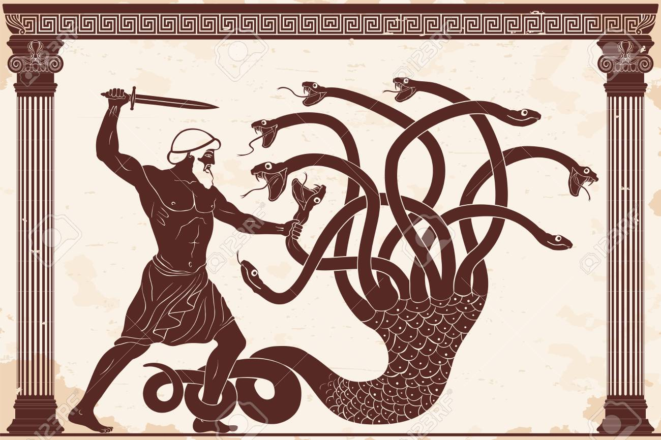 Hercules kills the Lyrna Hydra. 12 exploits of Hercules. Figure on a beige background with the aging effect. - 109041501