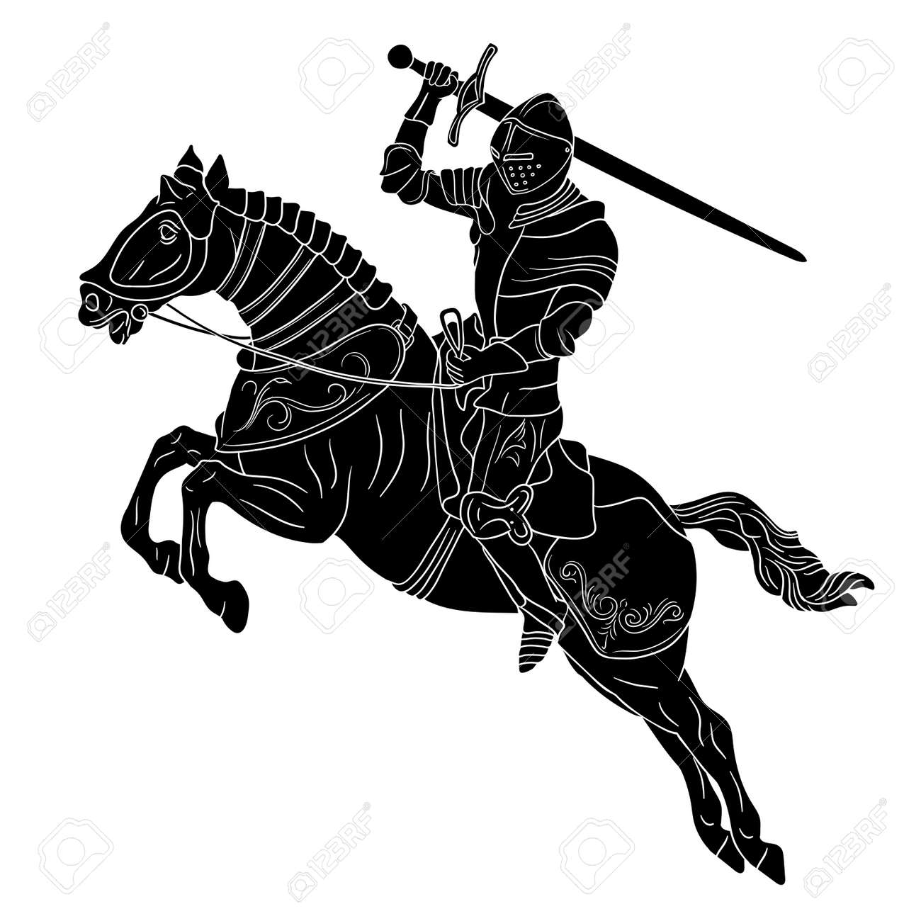 A knight in medieval armor on horseback with a sword in his hands prepares to strike. Figure isolated on white background. - 164134363