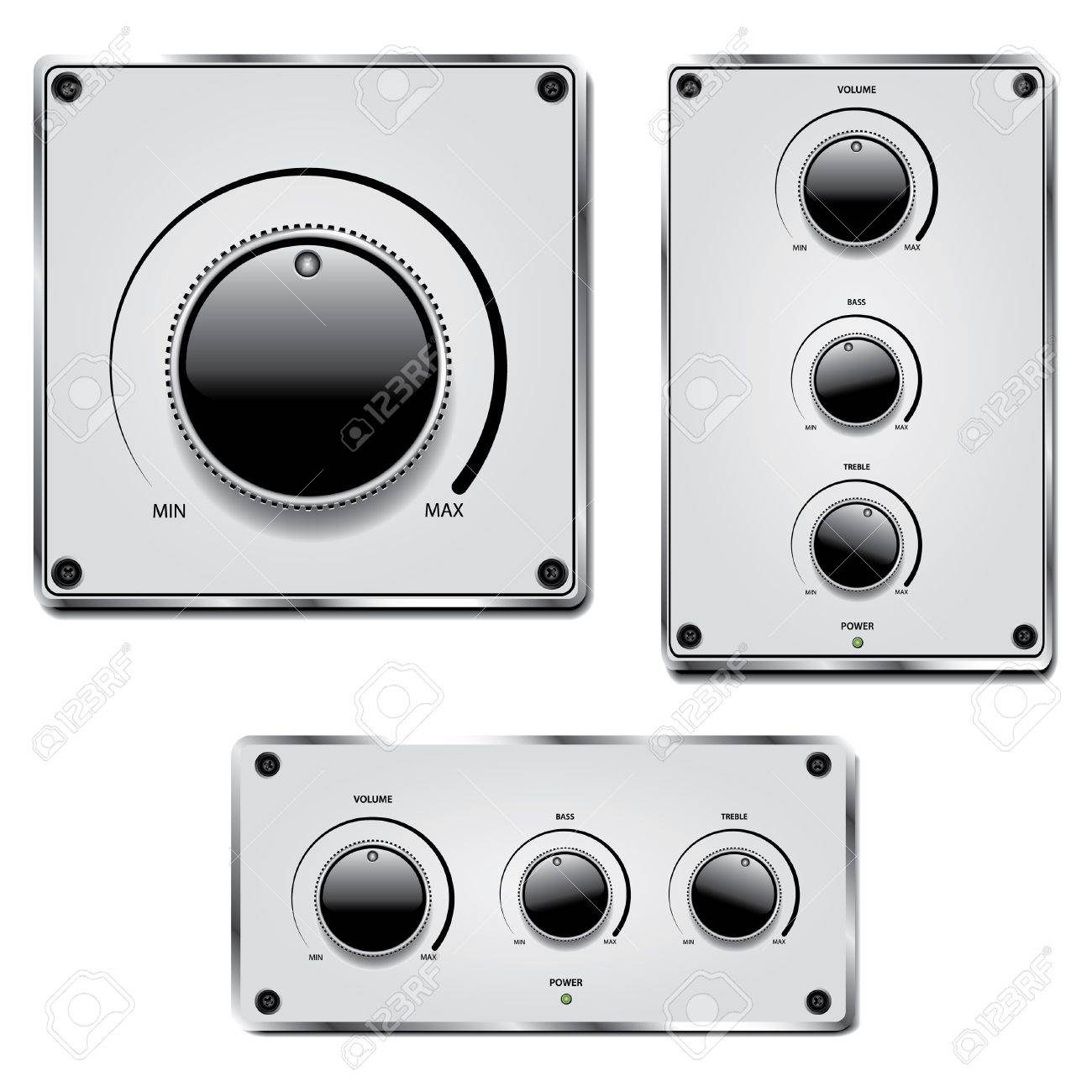 Fader and volume knob on metal plate isolated on white background Stock Vector - 12857324