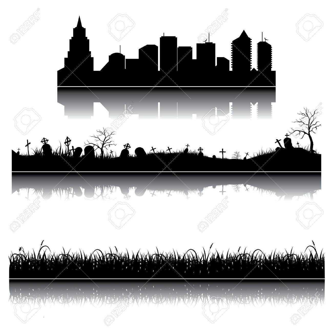 Set of city, grass and graveyard silhouettes - 15234634