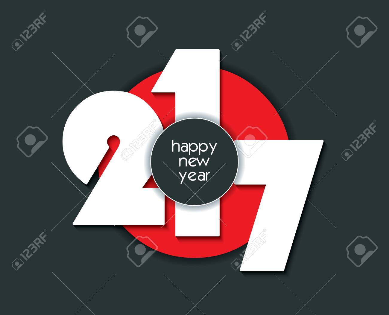 2017 creative numbers design on white background for your new year greetings card flyers